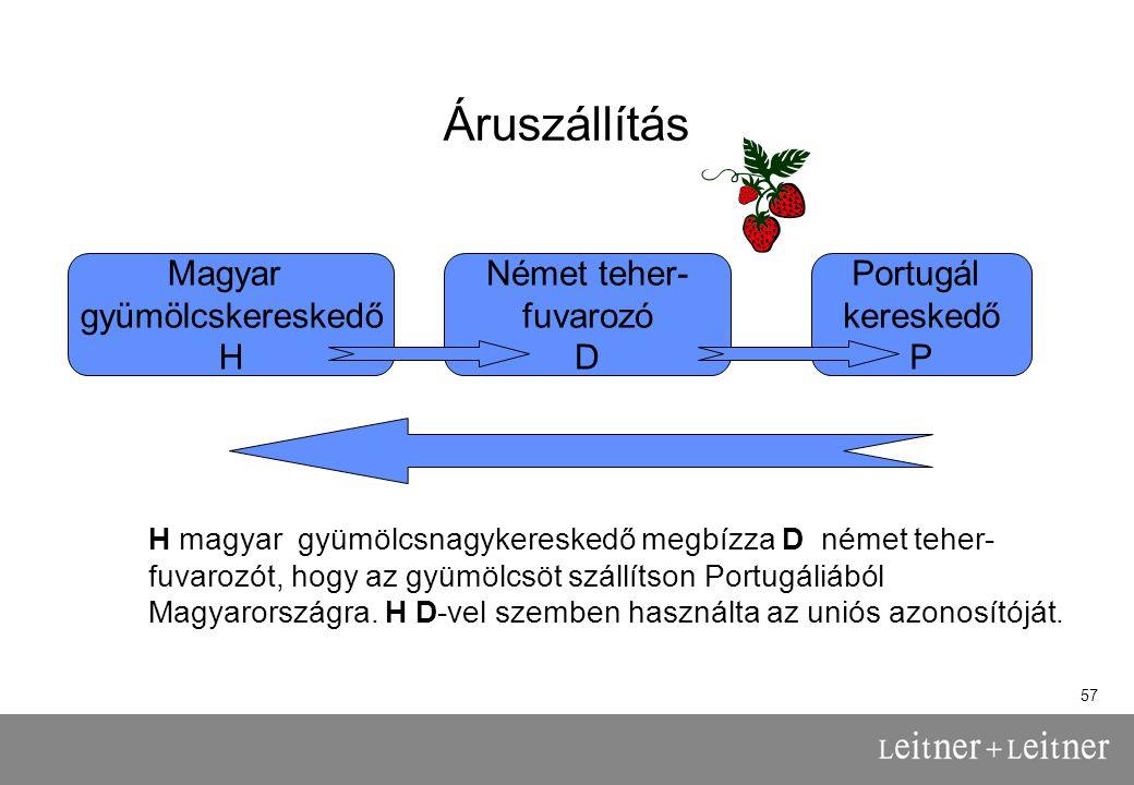 57 Áruszállítás H magyar gyümölcsnagykereskedő megbízza D német teher- fuvarozót, hogy az gyümölcsöt szállítson Portugáliából Magyarországra.
