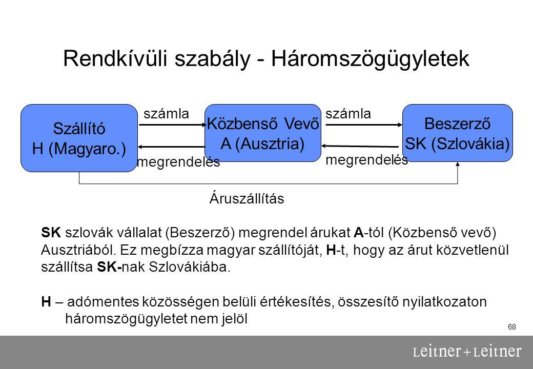 68 Rendkívüli szabály - Háromszögügyletek Közbenső Vevő A (Ausztria) Beszerző SK (Szlovákia) Szállító H (Magyaro.) SK szlovák vállalat (Beszerző) megrendel árukat A-tól (Közbenső vevő) Ausztriából.