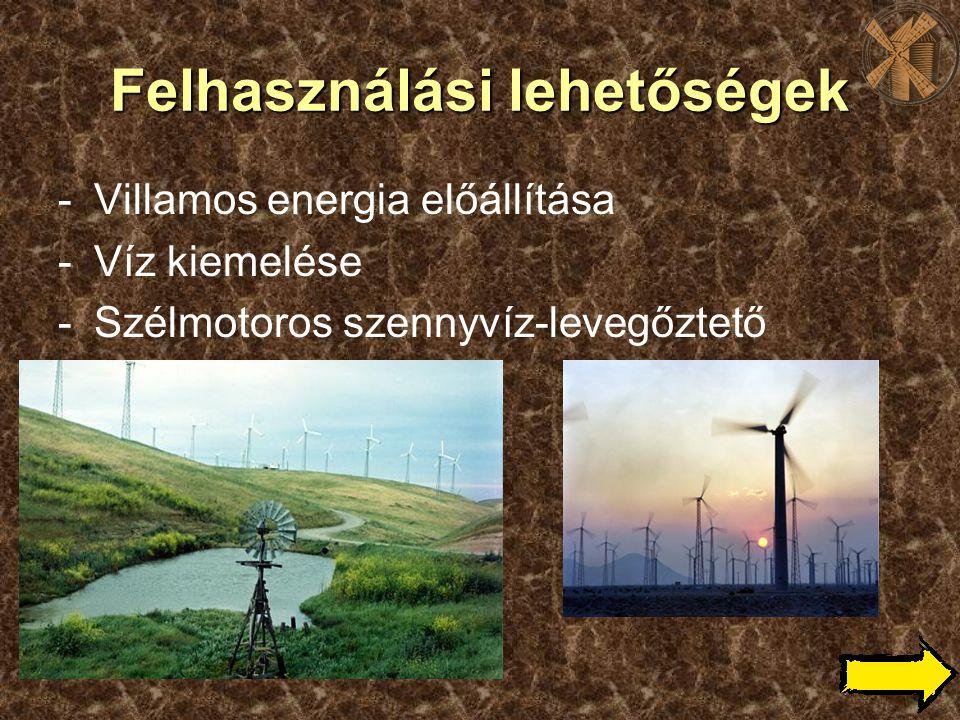 Felhasználási lehetőségek -Villamos energia előállítása -Víz kiemelése -Szélmotoros szennyvíz-levegőztető