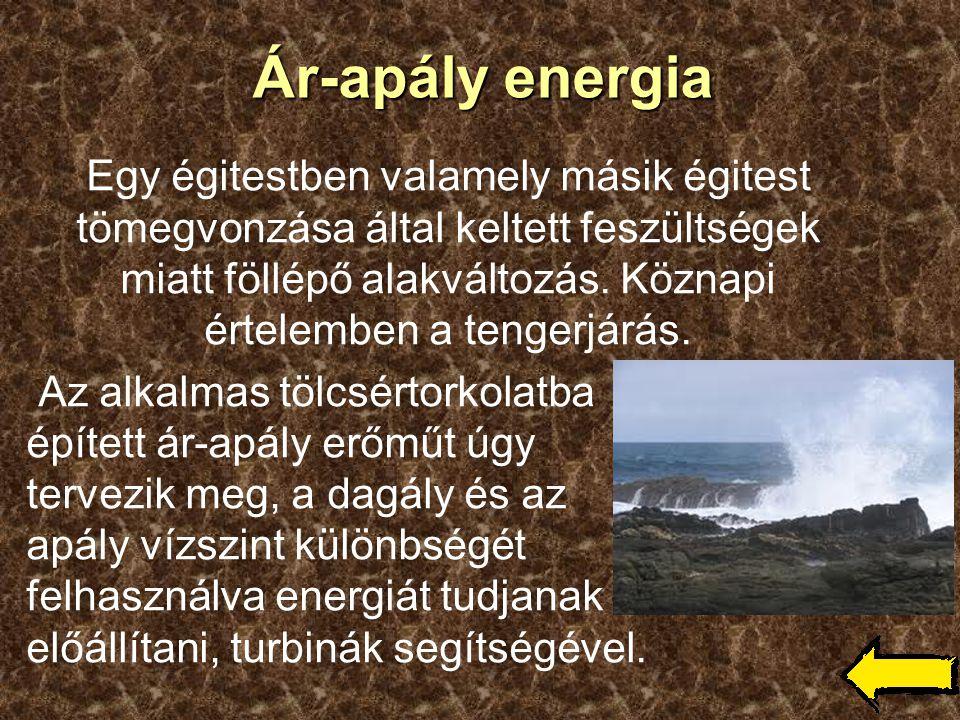 Ár-apály energia Egy égitestben valamely másik égitest tömegvonzása által keltett feszültségek miatt föllépő alakváltozás. Köznapi értelemben a tenger