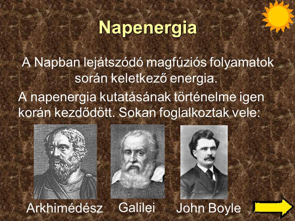 Napenergia A Napban lejátszódó magfúziós folyamatok során keletkező energia. A napenergia kutatásának történelme igen korán kezdődött. Sokan foglalkoz