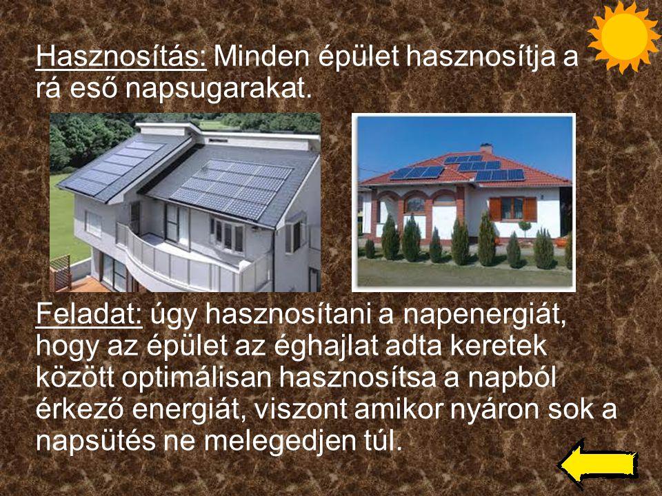 Hasznosítás: Minden épület hasznosítja a rá eső napsugarakat. Feladat: úgy hasznosítani a napenergiát, hogy az épület az éghajlat adta keretek között
