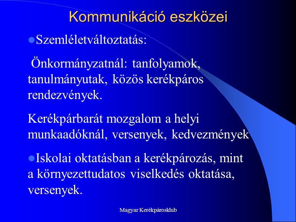 Magyar Kerékpárosklub Kommunikáció eszközei  Szemléletváltoztatás: Önkormányzatnál: tanfolyamok, tanulmányutak, közös kerékpáros rendezvények.