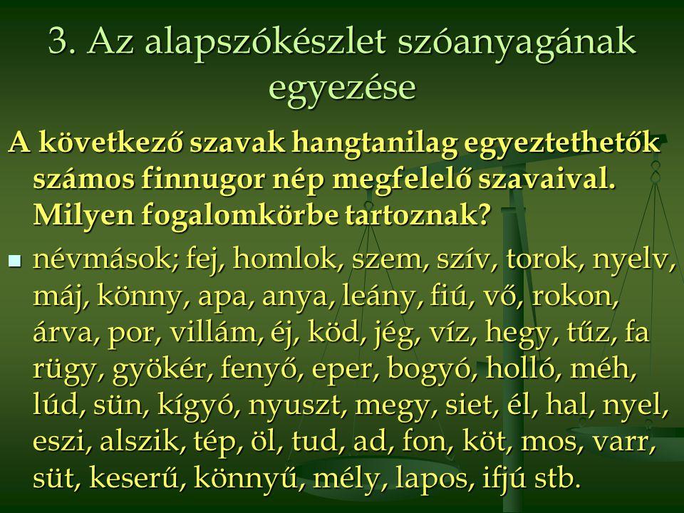3. Az alapszókészlet szóanyagának egyezése A következő szavak hangtanilag egyeztethetők számos finnugor nép megfelelő szavaival. Milyen fogalomkörbe t