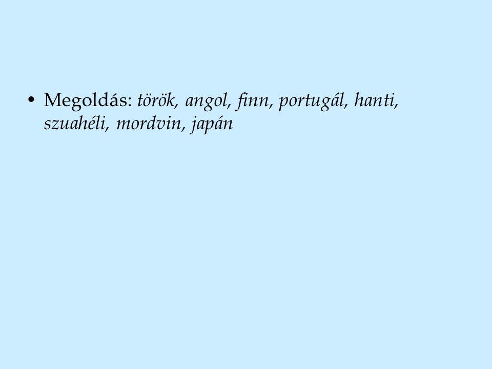 •Megoldás: török, angol, finn, portugál, hanti, szuahéli, mordvin, japán