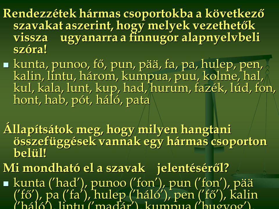 Rendezzétek hármas csoportokba a következő szavakat aszerint, hogy melyek vezethetők vissza ugyanarra a finnugor alapnyelvbeli szóra!  kunta, punoo, f