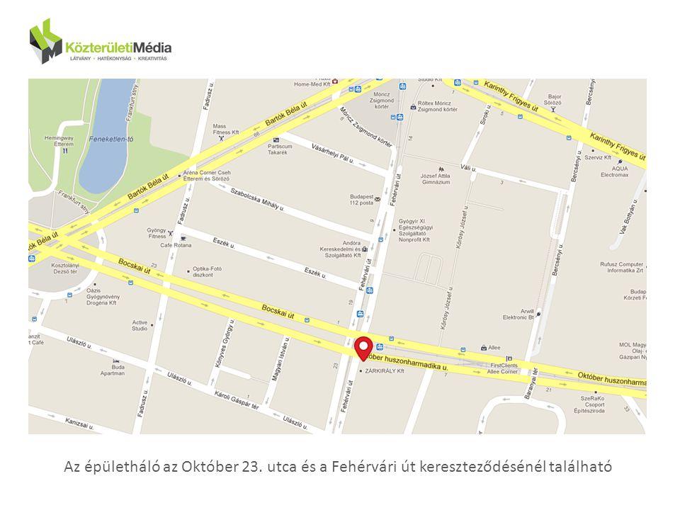 Térkép Az épületháló az Október 23. utca és a Fehérvári út kereszteződésénél található
