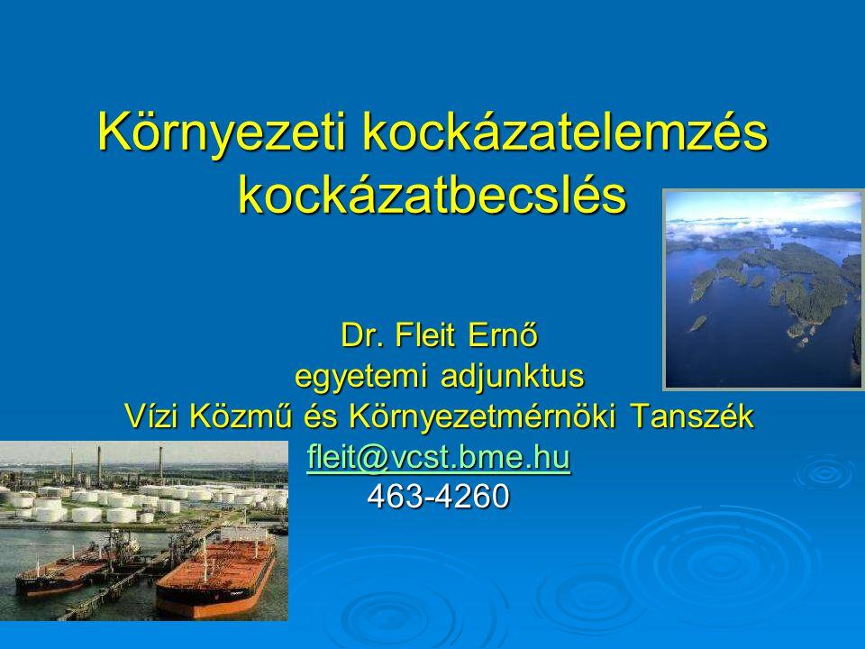 Környezeti kockázatelemzés kockázatbecslés Dr. Fleit Ernő egyetemi adjunktus Vízi Közmű és Környezetmérnöki Tanszék fleit@vcst.bme.hu 463-4260