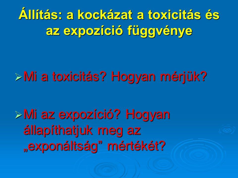 """Állítás: a kockázat a toxicitás és az expozíció függvénye  Mi a toxicitás? Hogyan mérjük?  Mi az expozíció? Hogyan állapíthatjuk meg az """"exponáltság"""