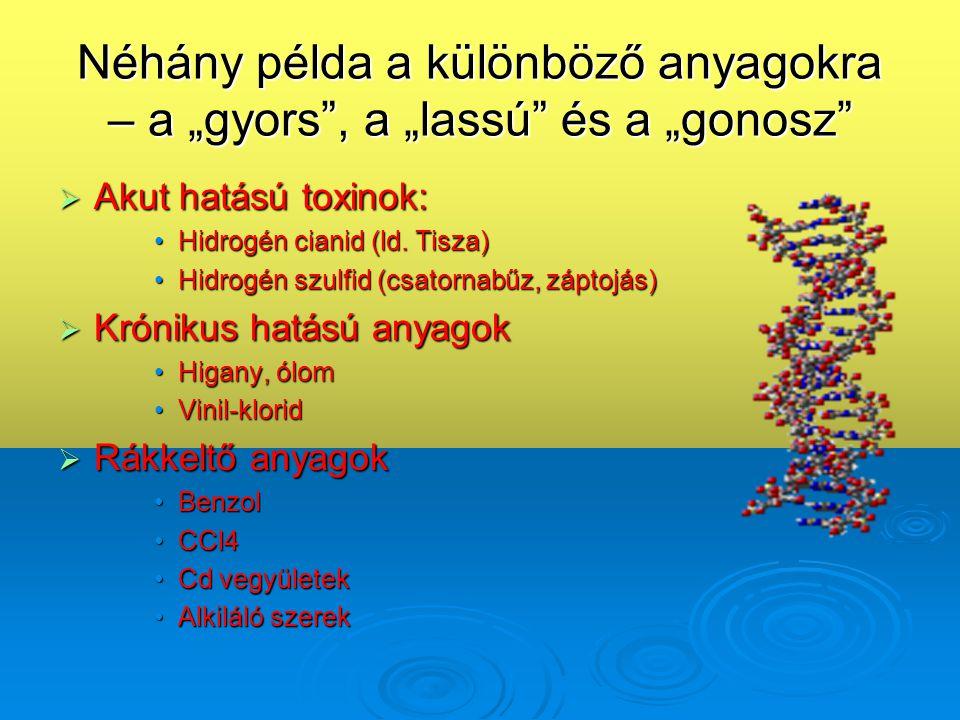"""Néhány példa a különböző anyagokra – a """"gyors"""", a """"lassú"""" és a """"gonosz""""  Akut hatású toxinok: •Hidrogén cianid (ld. Tisza) •Hidrogén szulfid (csatorn"""