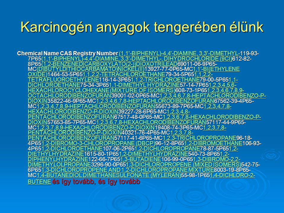 Karcinogén anyagok tengerében élünk Chemical Name CAS Registry Number (1,1'-BIPHENYL)-4,4'-DIAMINE, 3,3'-DIMETHYL-119-93- 7P65(1,1'-BIPHENYL)-4,4'-DIA