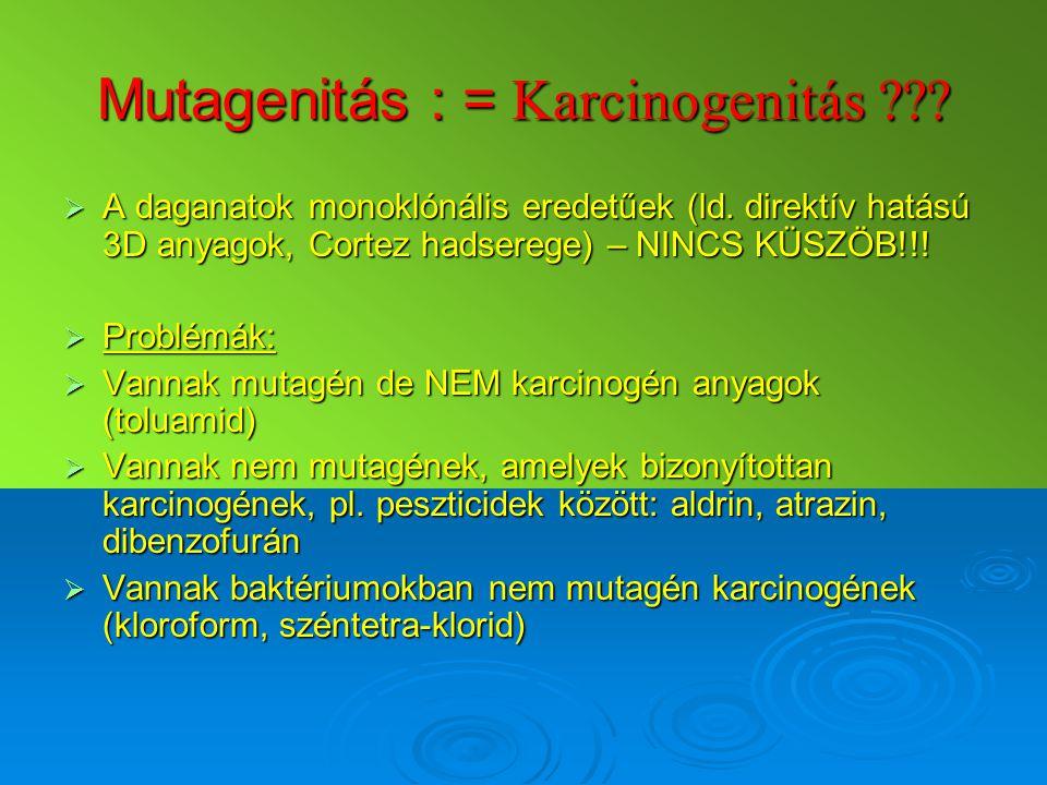 Mutagenitás : = Karcinogenitás ???  A daganatok monoklónális eredetűek (ld. direktív hatású 3D anyagok, Cortez hadserege) – NINCS KÜSZÖB!!!  Problém