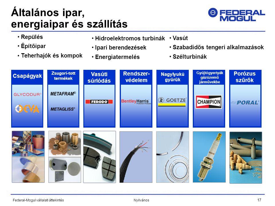 17 Federal-Mogul vállalati áttekintés Nyilvános Általános ipar, energiaipar és szállítás • Repülés • Építőipar • Teherhajók és kompok • Hidroelektromos turbinák • Ipari berendezések • Energiatermelés • Vasút • Szabadidős tengeri alkalmazások • Szélturbinák Vasúti súrlódás Rendszer- védelem Zsugorí-tott termékek Csapágyak Nagylyukú gyűrűk Gyújtógyertyák gázüzemű járművekbe Porózus szűrők