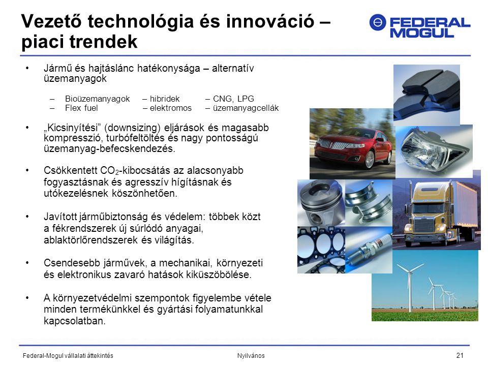 """21 Federal-Mogul vállalati áttekintés Nyilvános Vezető technológia és innováció – piaci trendek •Jármű és hajtáslánc hatékonysága – alternatív üzemanyagok –Bioüzemanyagok – hibridek – CNG, LPG –Flex fuel – elektromos – üzemanyagcellák •""""Kicsinyítési (downsizing) eljárások és magasabb kompresszió, turbófeltöltés és nagy pontosságú üzemanyag-befecskendezés."""