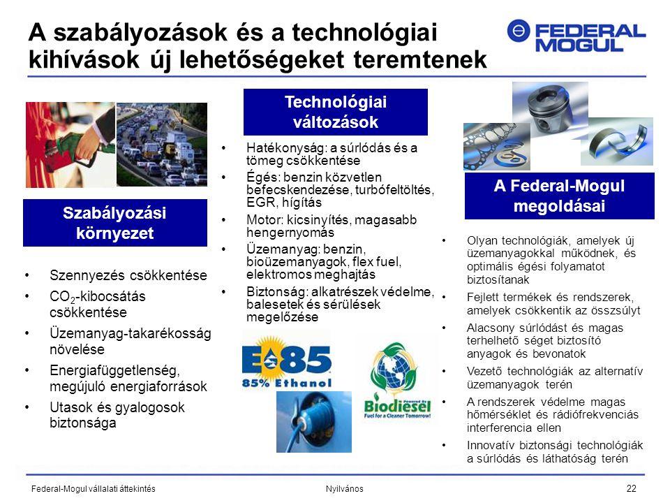 22 Federal-Mogul vállalati áttekintés Nyilvános A szabályozások és a technológiai kihívások új lehetőségeket teremtenek •Szennyezés csökkentése •CO 2 -kibocsátás csökkentése •Üzemanyag-takarékosság növelése •Energiafüggetlenség, megújuló energiaforrások •Utasok és gyalogosok biztonsága Szabályozási környezet Technológiai változások A Federal-Mogul megoldásai •Hatékonyság: a súrlódás és a tömeg csökkentése •Égés: benzin közvetlen befecskendezése, turbófeltöltés, EGR, hígítás •Motor: kicsinyítés, magasabb hengernyomás •Üzemanyag: benzin, bioüzemanyagok, flex fuel, elektromos meghajtás •Biztonság: alkatrészek védelme, balesetek és sérülések megelőzése •Olyan technológiák, amelyek új üzemanyagokkal működnek, és optimális égési folyamatot biztosítanak •Fejlett termékek és rendszerek, amelyek csökkentik az összsúlyt •Alacsony súrlódást és magas terhelhető séget biztosító anyagok és bevonatok •Vezető technológiák az alternatív üzemanyagok terén •A rendszerek védelme magas hőmérséklet és rádiófrekvenciás interferencia ellen •Innovatív biztonsági technológiák a súrlódás és láthatóság terén
