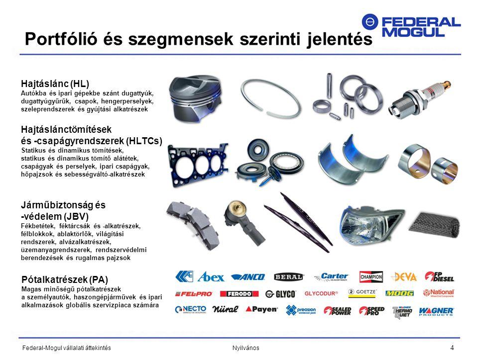4 Federal-Mogul vállalati áttekintés Nyilvános Hajtáslánc (HL) Autókba és ipari gépekbe szánt dugattyúk, dugattyúgyűrűk, csapok, hengerperselyek, szeleprendszerek és gyújtási alkatrészek Hajtáslánctömítések és -csapágyrendszerek (HLTCs) Statikus és dinamikus tömítések, statikus és dinamikus tömítő alátétek, csapágyak és perselyek, ipari csapágyak, hőpajzsok és sebességváltó-alkatrészek Járműbiztonság és -védelem (JBV) Fékbetétek, féktárcsák és -alkatrészek, félblokkok, ablaktörlők, világítási rendszerek, alvázalkatrészek, üzemanyagrendszerek, rendszervédelmi berendezések és rugalmas pajzsok Pótalkatrészek (PA) Magas minőségű pótalkatrészek a személyautók, haszongépjárművek és ipari alkalmazások globális szervizpiaca számára Portfólió és szegmensek szerinti jelentés