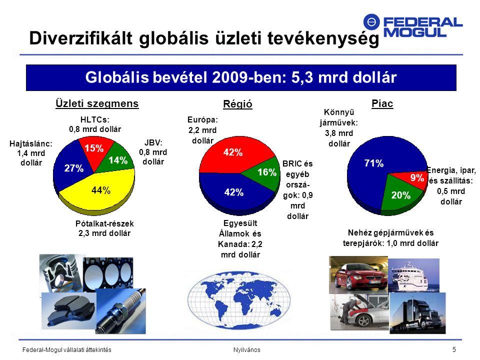 5 Federal-Mogul vállalati áttekintés Nyilvános Diverzifikált globális üzleti tevékenység 40% Könnyű járművek: 3,8 mrd dollár Nehéz gépjárművek és terepjárók: 1,0 mrd dollár Energia, ipar, és szállítás: 0,5 mrd dollár 20% 9% 71% Piac Globális bevétel 2009-ben: 5,3 mrd dollár Egyesült Államok és Kanada: 2,2 mrd dollár 42% BRIC és egyéb orszá- gok: 0,9 mrd dollár Európa: 2,2 mrd dollár 42% 16% Régió 44% 27% Hajtáslánc: 1,4 mrd dollár Pótalkat-részek 2,3 mrd dollár JBV: 0,8 mrd dollár HLTCs: 0,8 mrd dollár 15% 14% Üzleti szegmens