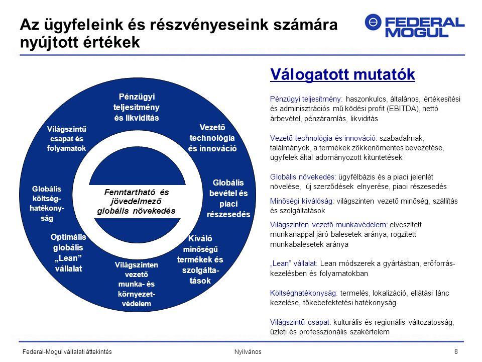 """8 Federal-Mogul vállalati áttekintés Nyilvános Az ügyfeleink és részvényeseink számára nyújtott értékek Válogatott mutatók Pénzügyi teljesítmény: haszonkulcs, általános, értékesítési és adminisztrációs mű ködési profit (EBITDA), nettó árbevétel, pénzáramlás, likviditás Vezető technológia és innováció: szabadalmak, találmányok, a termékek zökkenőmentes bevezetése, ügyfelek által adományozott kitüntetések Globális növekedés: ügyfélbázis és a piaci jelenlét növelése, új szerződések elnyerése, piaci részesedés Minőségi kiválóság: világszinten vezető minőség, szállítás és szolgáltatások Világszinten vezető munkavédelem: elveszített munkanappal járó balesetek aránya, rögzített munkabalesetek aránya """"Lean vállalat: Lean módszerek a gyártásban, erőforrás- kezelésben és folyamatokban Költséghatékonyság: termelés, lokalizáció, ellátási lánc kezelése, tőkebefektetési hatékonyság Világszintű csapat: kulturális és regionális változatosság, üzleti és professzionális szakértelem Kiváló minőségű termékek és szolgáltatá sok Fenntartható és jövedelmező globális növekedés Kiváló minőségű termékek és szolgálta- tások Vezető technológia és innováció Globális költség- hatékony- ság Optimális globális """"Lean vállalat Világszinten vezető munka- és környezet- védelem Globális bevétel és piaci részesedés Világszintű csapat és folyamatok Pénzügyi teljesítmény és likviditás"""