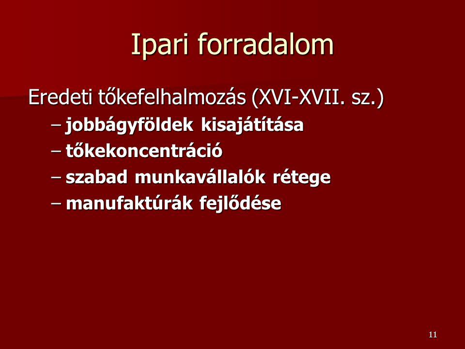 11 Ipari forradalom Eredeti tőkefelhalmozás (XVI-XVII.