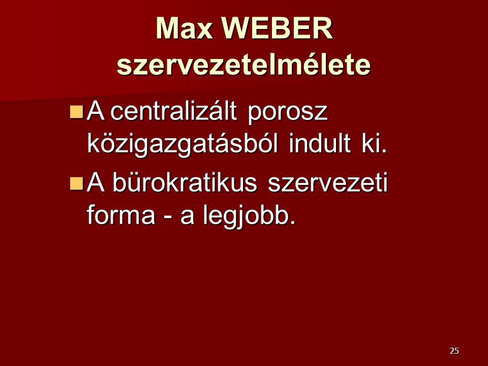 25 Max WEBER szervezetelmélete  A centralizált porosz közigazgatásból indult ki.  A bürokratikus szervezeti forma - a legjobb.