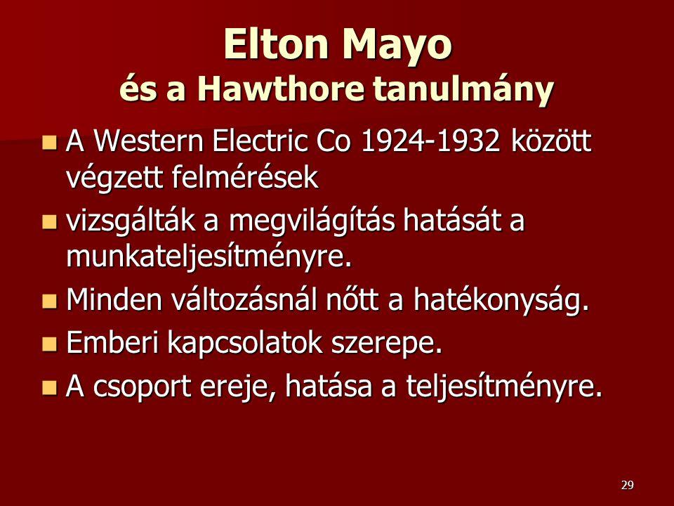 29 Elton Mayo és a Hawthore tanulmány  A Western Electric Co 1924-1932 között végzett felmérések  vizsgálták a megvilágítás hatását a munkateljesítményre.