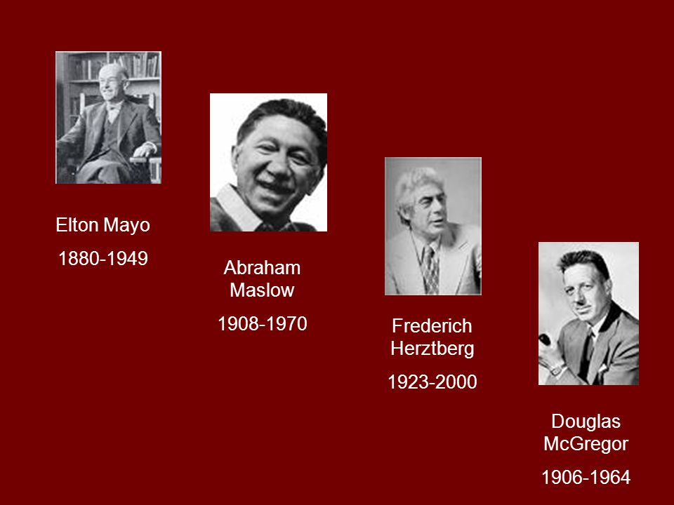 Elton Mayo 1880-1949 Abraham Maslow 1908-1970 Frederich Herztberg 1923-2000 Douglas McGregor 1906-1964