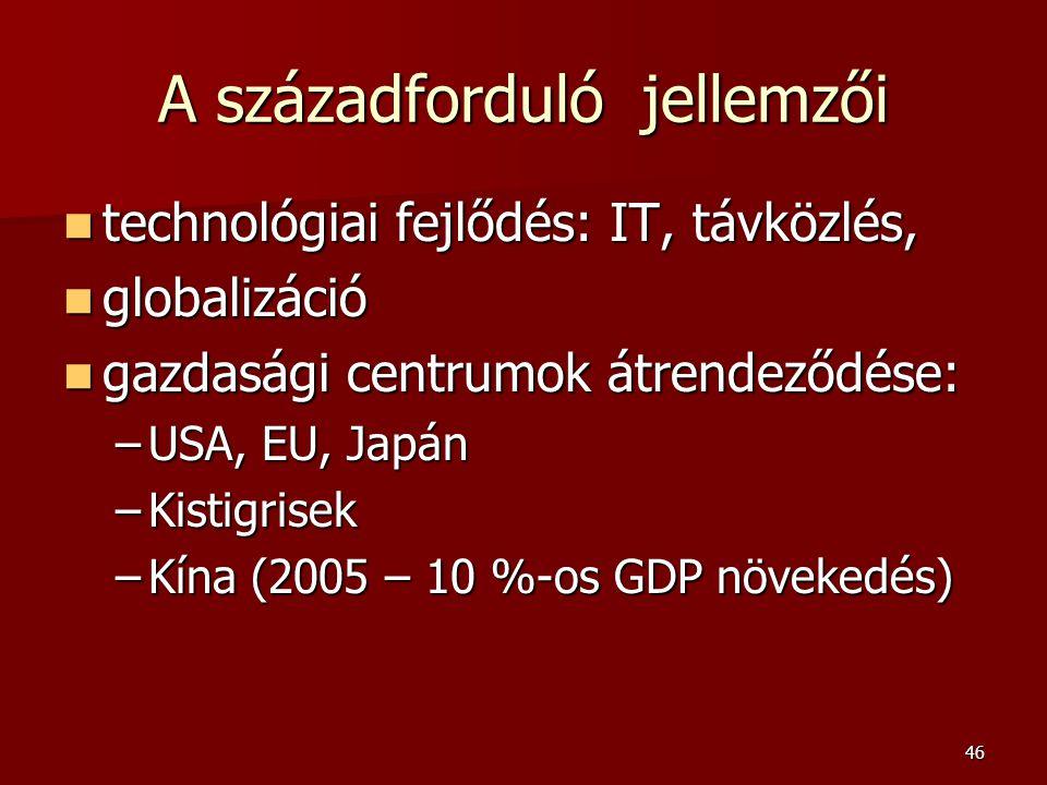 46 A századforduló jellemzői  technológiai  technológiai fejlődés: IT, távközlés,  globalizáció  gazdasági  gazdasági centrumok átrendeződése: –USA, –USA, EU, Japán –Kistigrisek –Kína –Kína (2005 – 10 %-os GDP növekedés)