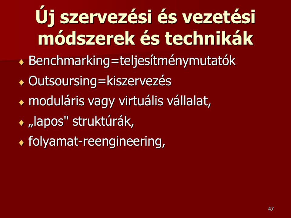 """47 Új szervezési és vezetési módszerek és technikák  Benchmarking=teljesítménymutatók  Outsoursing=kiszervezés  moduláris vagy virtuális vállalat,  """"lapos struktúrák,  folyamat-reengineering,"""