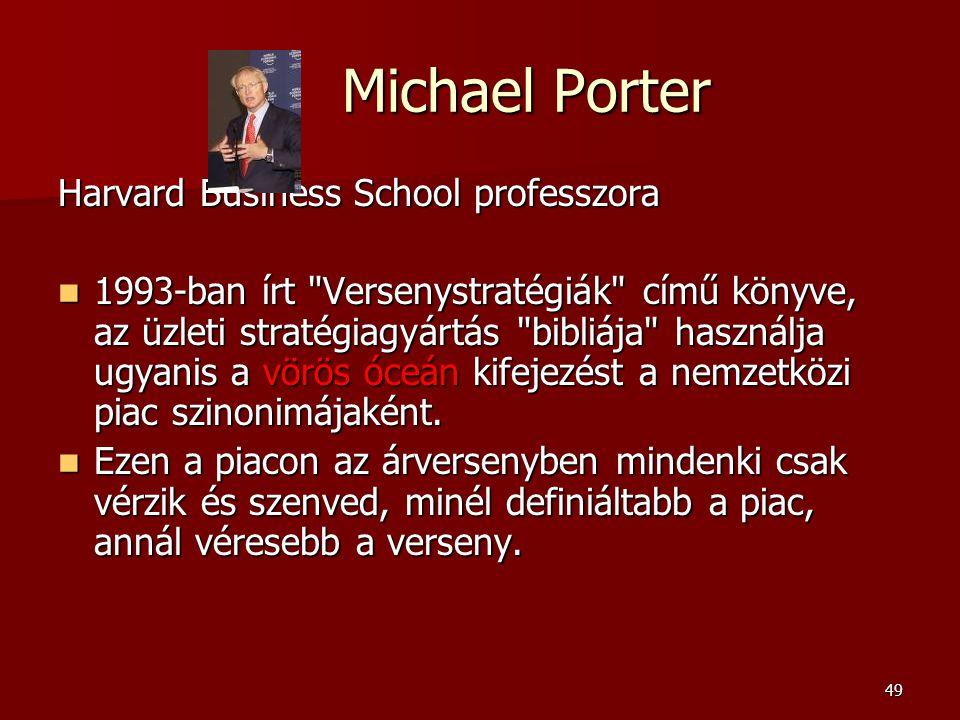 49 Michael Porter Michael Porter Harvard Business School professzora  1993-ban írt Versenystratégiák című könyve, az üzleti stratégiagyártás bibliája használja ugyanis a vörös óceán kifejezést a nemzetközi piac szinonimájaként.