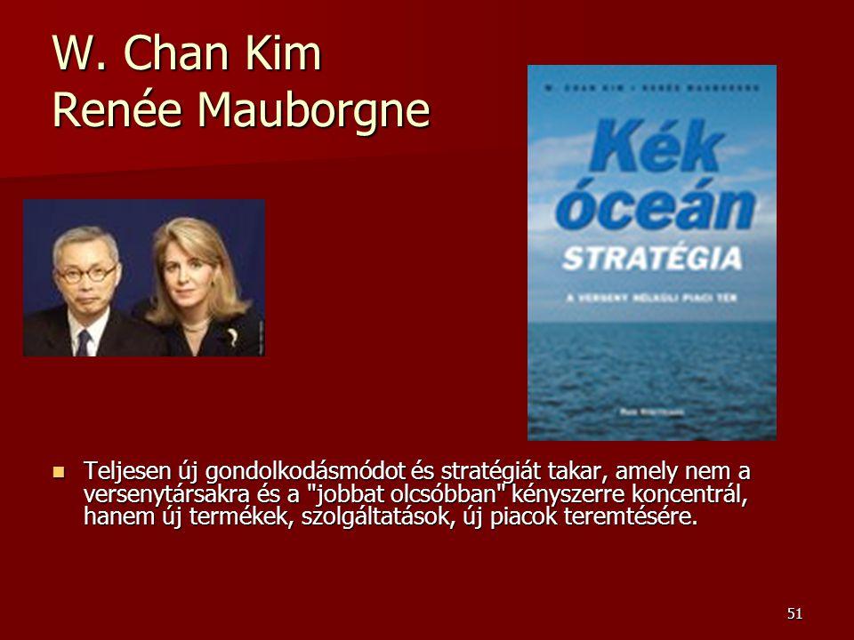 51 W. Chan Kim Renée Mauborgne  Teljesen új gondolkodásmódot és stratégiát takar, amely nem a versenytársakra és a