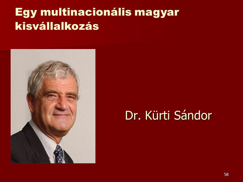 58 Dr. Kürti Sándor Egy multinacionális magyar kisvállalkozás