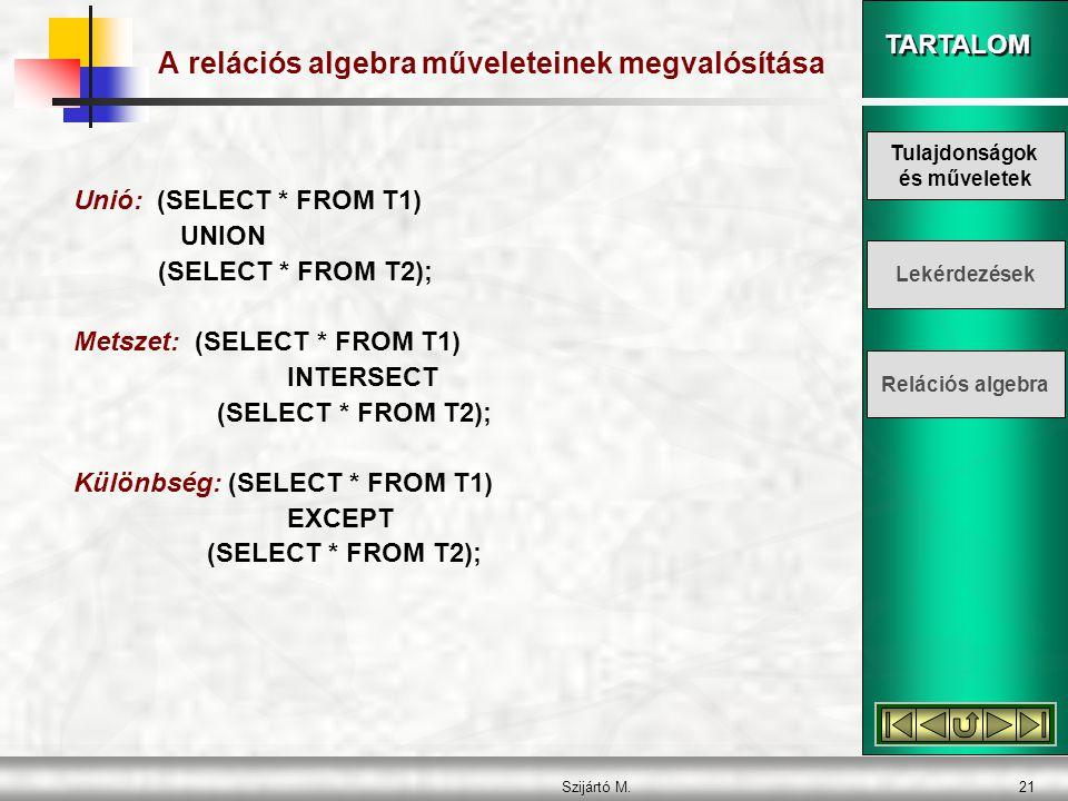 TARTALOM Szijártó M.21 A relációs algebra műveleteinek megvalósítása Unió: (SELECT * FROM T1) UNION (SELECT * FROM T2); Metszet: (SELECT * FROM T1) INTERSECT (SELECT * FROM T2); Különbség: (SELECT * FROM T1) EXCEPT (SELECT * FROM T2); Tulajdonságok és műveletek Lekérdezések Relációs algebra