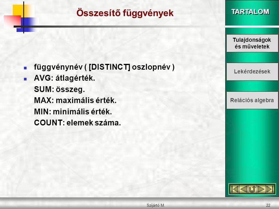 TARTALOM Szijártó M.22 Összesítő függvények  függvénynév ( [DISTINCT] oszlopnév )  AVG: átlagérték.