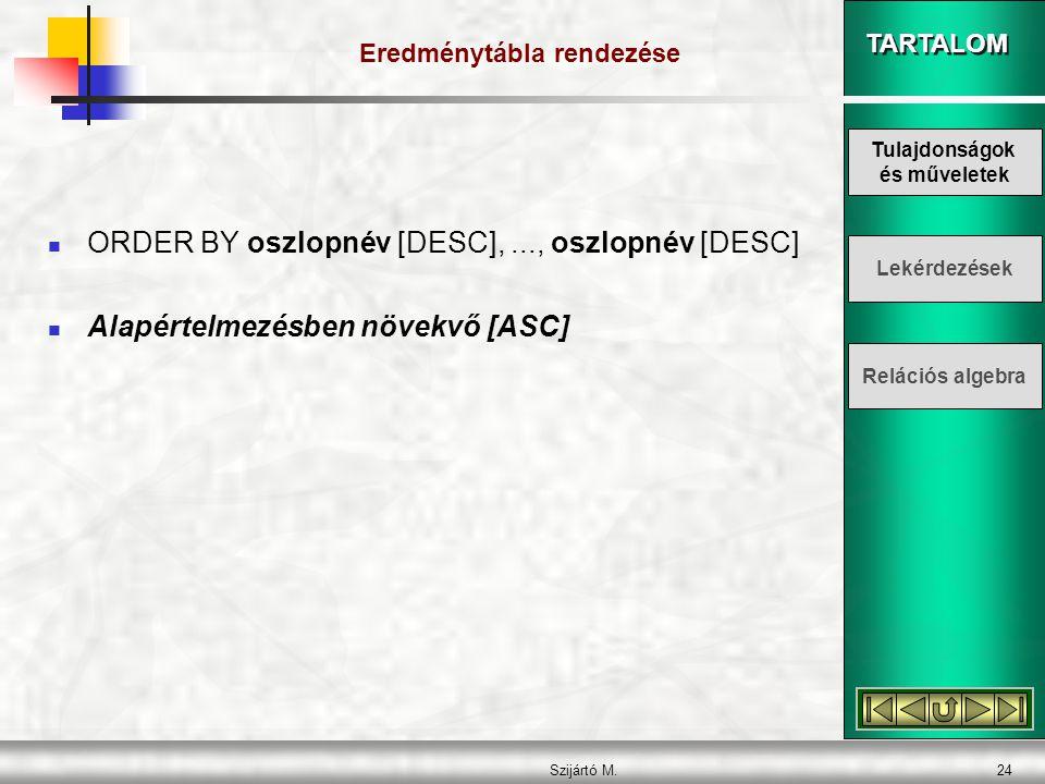 TARTALOM Szijártó M.24 Eredménytábla rendezése  ORDER BY oszlopnév [DESC],..., oszlopnév [DESC]  Alapértelmezésben növekvő [ASC] Tulajdonságok és műveletek Lekérdezések Relációs algebra