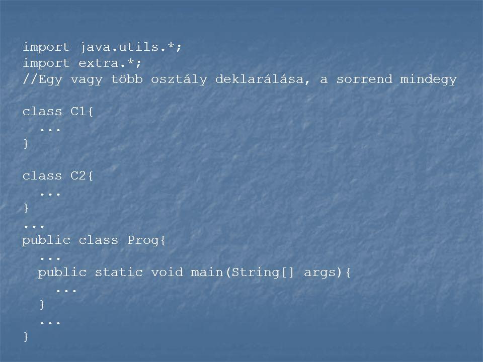 import java.utils.*; import extra.*; //Egy vagy több osztály deklarálása, a sorrend mindegy class C1{...