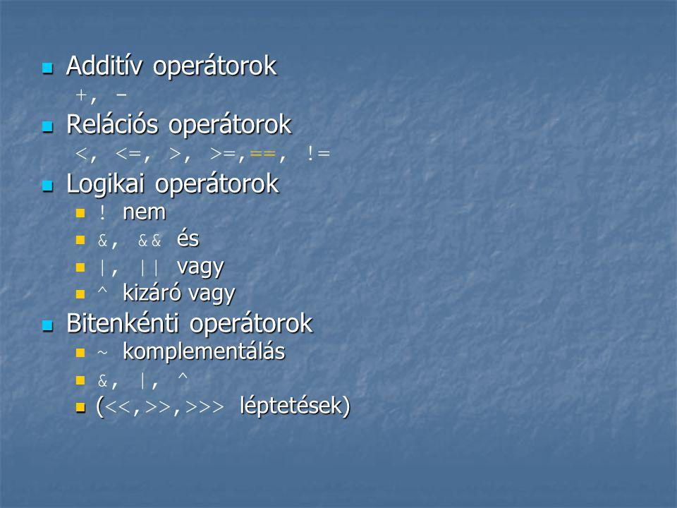  Additív operátorok +, -  Relációs operátorok, >=,==, !=  Logikai operátorok  nem  ! nem  és  &, && és  vagy  |, || vagy  kizáró vagy  ^ ki