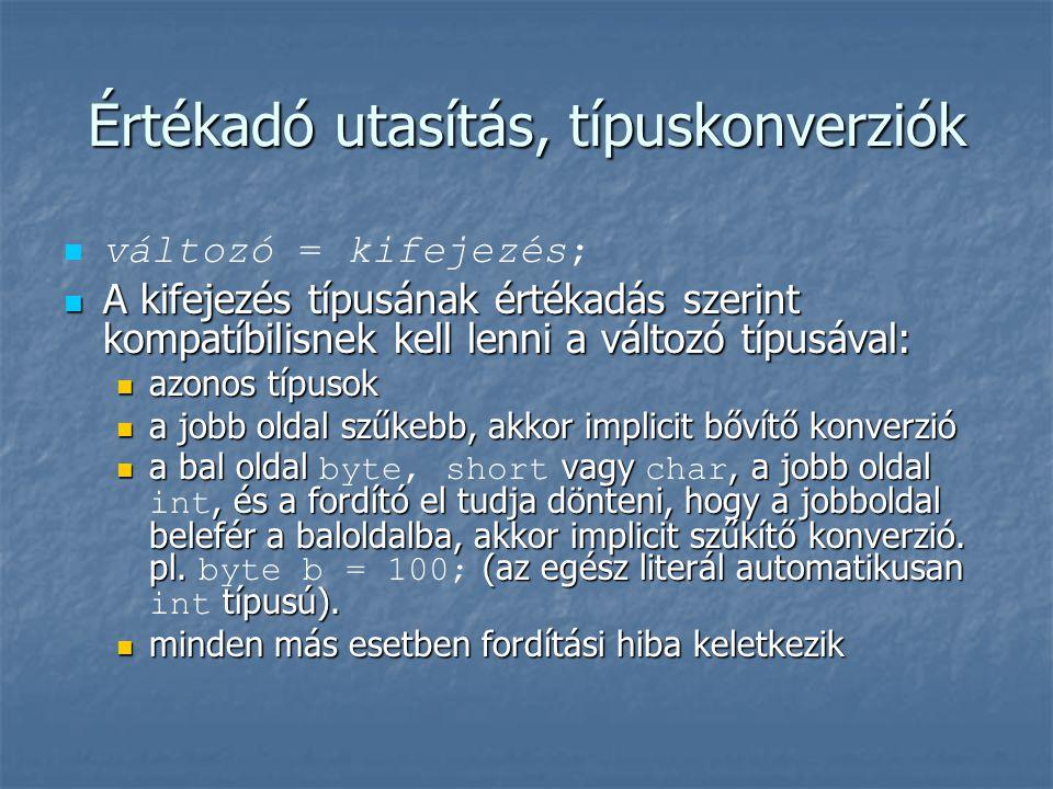 Értékadó utasítás, típuskonverziók   változó = kifejezés;  A kifejezés típusának értékadás szerint kompatíbilisnek kell lenni a változó típusával:
