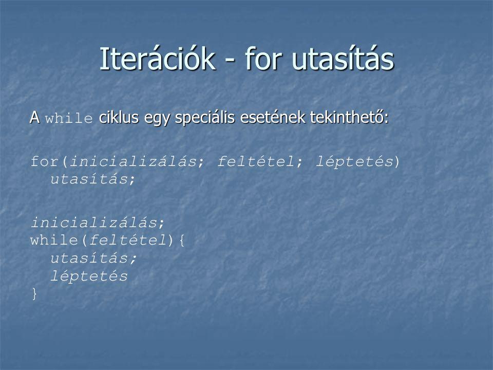 Iterációk - for utasítás A ciklus egy speciális esetének tekinthető: A while ciklus egy speciális esetének tekinthető: for(inicializálás; feltétel; lé