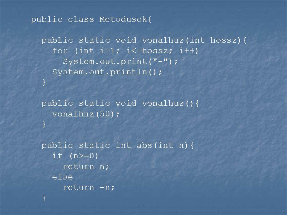 public class Metodusok{ public static void vonalhuz(int hossz){ for (int i=1; i<=hossz; i++) System.out.print( - ); System.out.println(); } public static void vonalhuz(){ vonalhuz(50); } public static int abs(int n){ if (n>=0) return n; else return -n; }