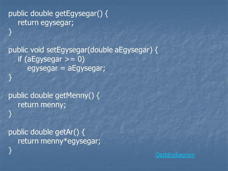 public double getEgysegar() { return egysegar; } public void setEgysegar(double aEgysegar) { if (aEgysegar >= 0) egysegar = aEgysegar; } public double getMenny() { return menny; } public double getAr() { return menny*egysegar; } Osztálydiagram