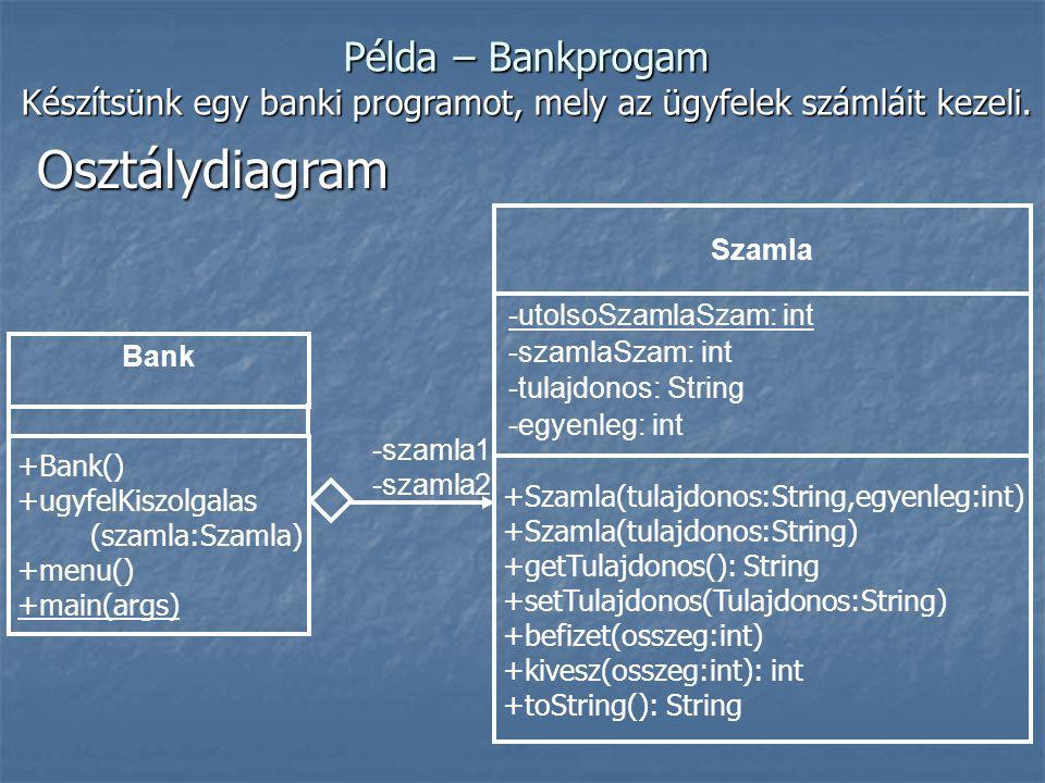 Osztálydiagram Bank -szamla1 -szamla2 -utolsoSzamlaSzam: int -szamlaSzam: int -tulajdonos: String -egyenleg: int Szamla +Szamla(tulajdonos:String,egyenleg:int) +Szamla(tulajdonos:String) +getTulajdonos(): String +setTulajdonos(Tulajdonos:String) +befizet(osszeg:int) +kivesz(osszeg:int): int +toString(): String +Bank() +ugyfelKiszolgalas (szamla:Szamla) +menu() +main(args) Példa – Bankprogam Készítsünk egy banki programot, mely az ügyfelek számláit kezeli.