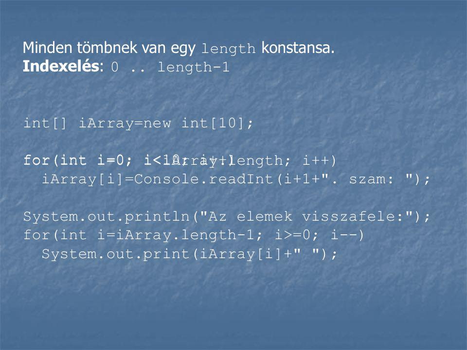 Minden tömbnek van egy length konstansa.Indexelés: 0..