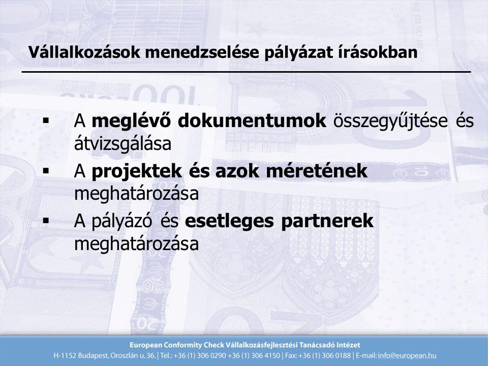  A meglévő dokumentumok összegyűjtése és átvizsgálása  A projektek és azok méretének meghatározása  A pályázó és esetleges partnerek meghatározása Vállalkozások menedzselése pályázat írásokban
