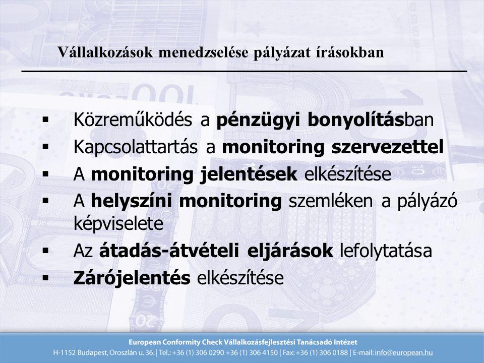  Közreműködés a pénzügyi bonyolításban  Kapcsolattartás a monitoring szervezettel  A monitoring jelentések elkészítése  A helyszíni monitoring szemléken a pályázó képviselete  Az átadás-átvételi eljárások lefolytatása  Zárójelentés elkészítése Vállalkozások menedzselése pályázat írásokban