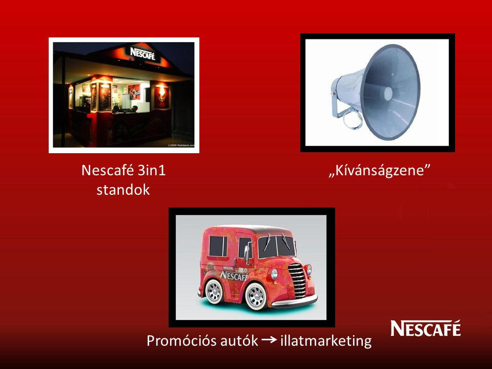 "Nescafé 3in1 standok ""Kívánságzene"" Promóciós autók illatmarketing"