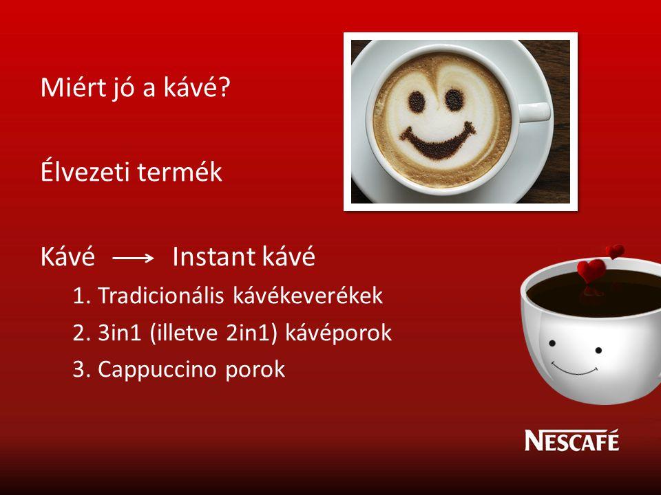 Miért jó a kávé? Élvezeti termék Kávé Instant kávé 1. Tradicionális kávékeverékek 2. 3in1 (illetve 2in1) kávéporok 3. Cappuccino porok