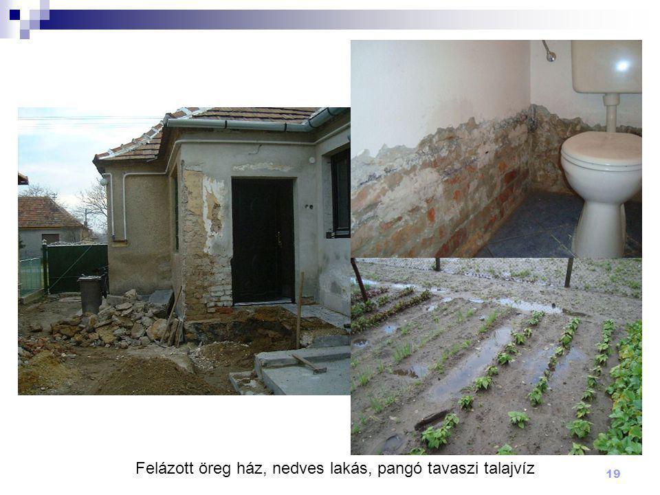 19 Felázott öreg ház, nedves lakás, pangó tavaszi talajvíz