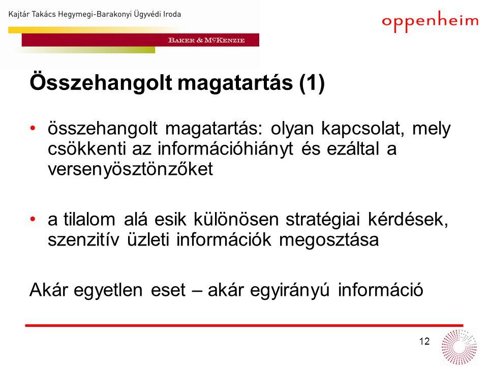 12 Összehangolt magatartás (1) •összehangolt magatartás: olyan kapcsolat, mely csökkenti az információhiányt és ezáltal a versenyösztönzőket •a tilalo