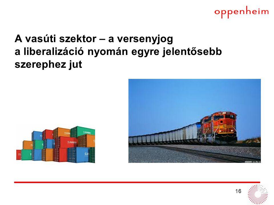 16 A vasúti szektor – a versenyjog a liberalizáció nyomán egyre jelentősebb szerephez jut