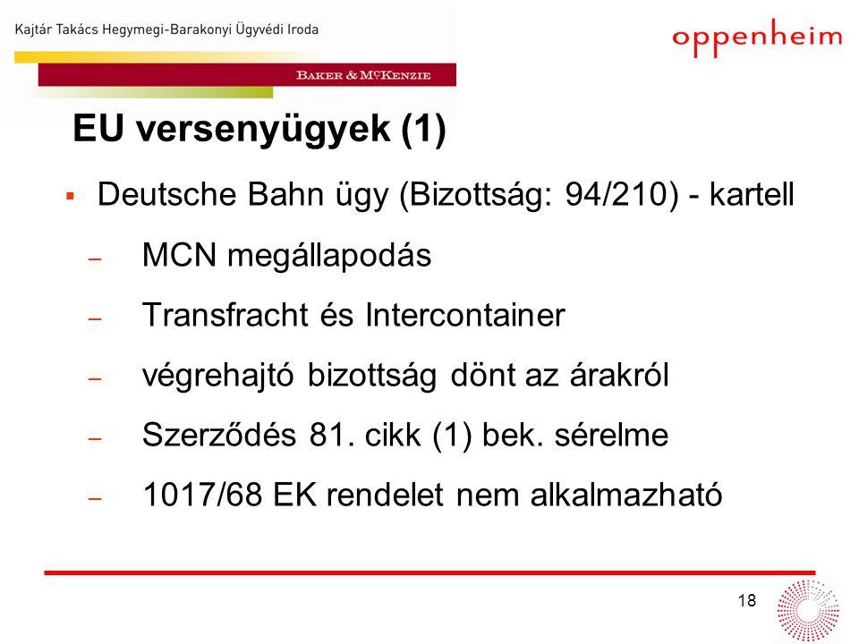 18  Deutsche Bahn ügy (Bizottság: 94/210) - kartell ̶ MCN megállapodás ̶ Transfracht és Intercontainer ̶ végrehajtó bizottság dönt az árakról ̶ Szerződés 81.
